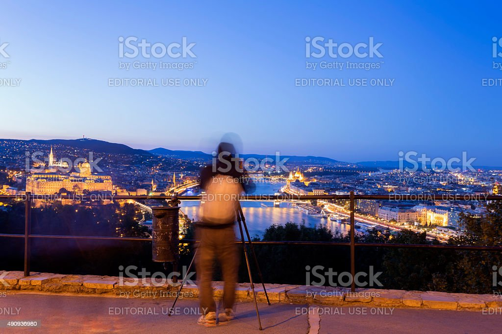 Photographing Budapest cityscape at dusk  Chain Bridge, Parliament, Buda Castle stock photo