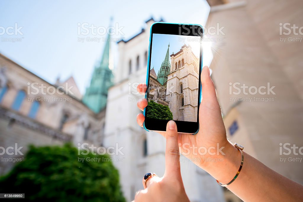 Photographing church in Geneva stock photo
