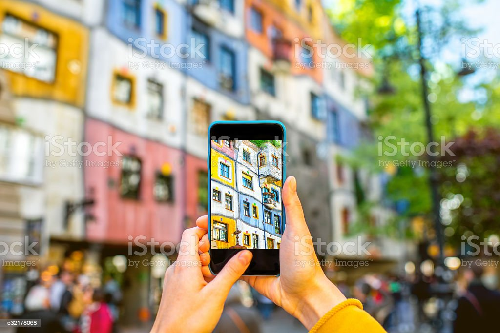 Photographing colorful building facade stock photo