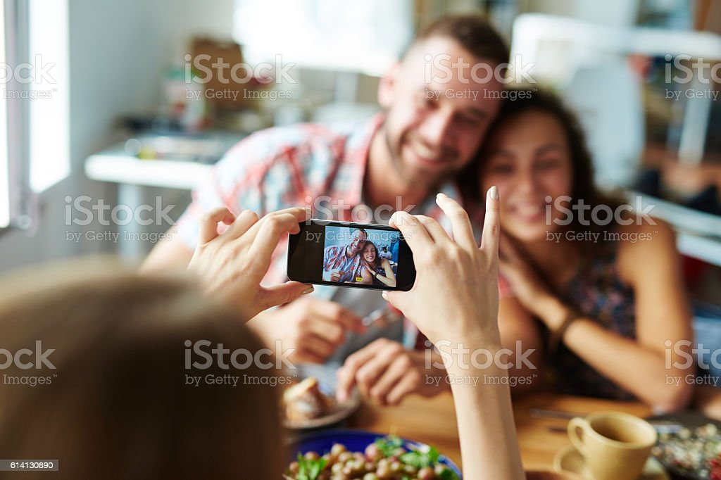 Photographing friends stock photo