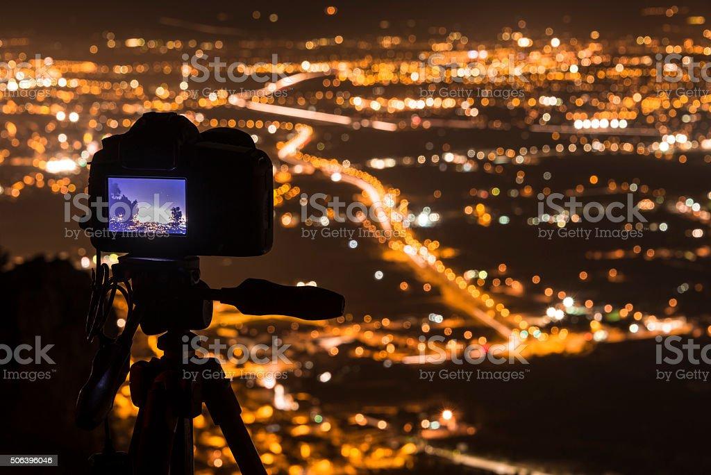 Photographing Murcia at night II stock photo
