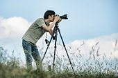 photographing nature and landscape outdoor.