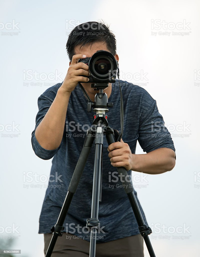 photographing nature and landscape outdoor. stock photo