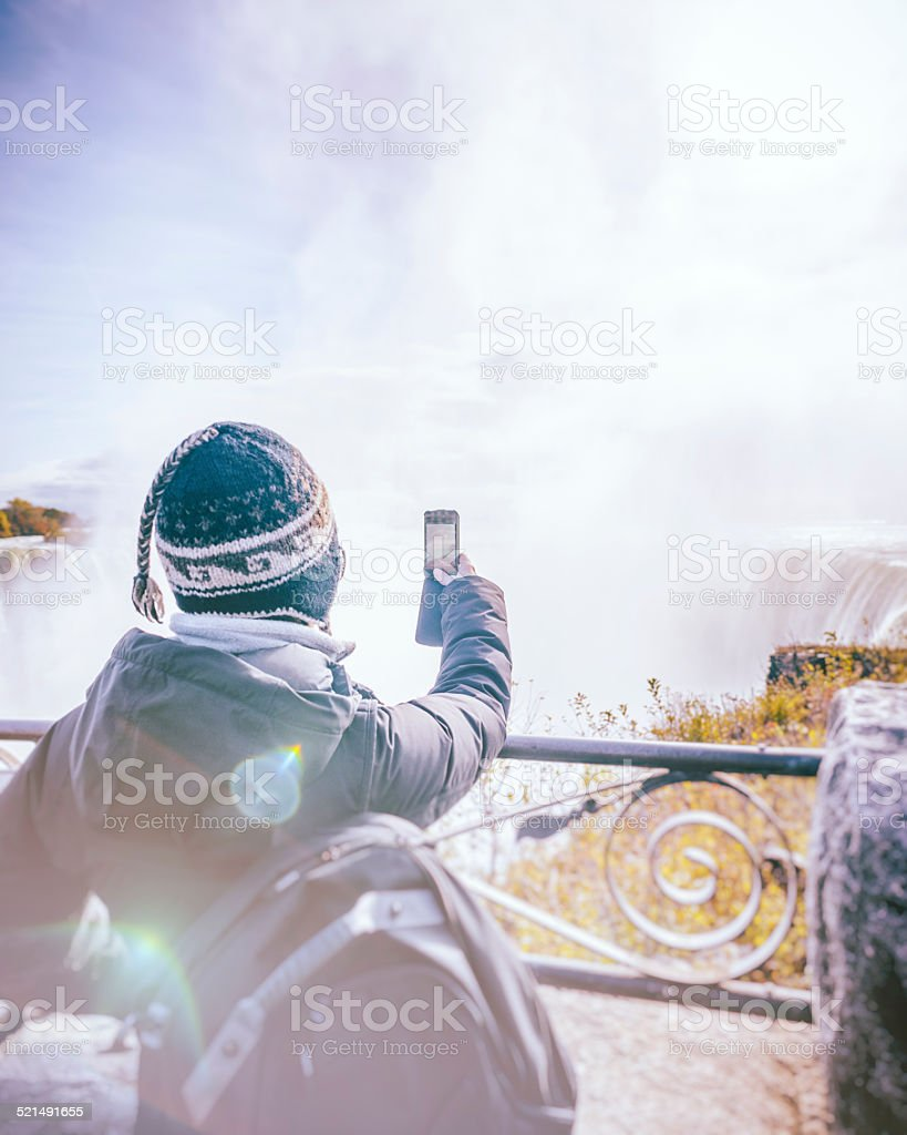 Photographing Niagara Falls Canadian Side Using Mobile Phone stock photo