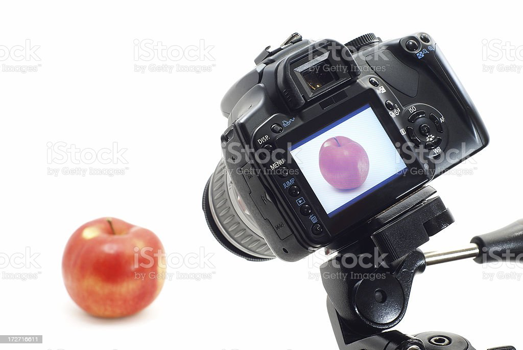 Photographing object in photo studio with full screen review royalty-free stock photo