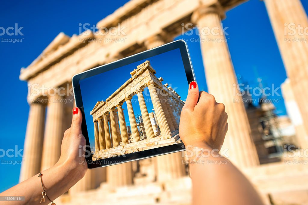 Photographing Parthenon temple in Acropolis stock photo