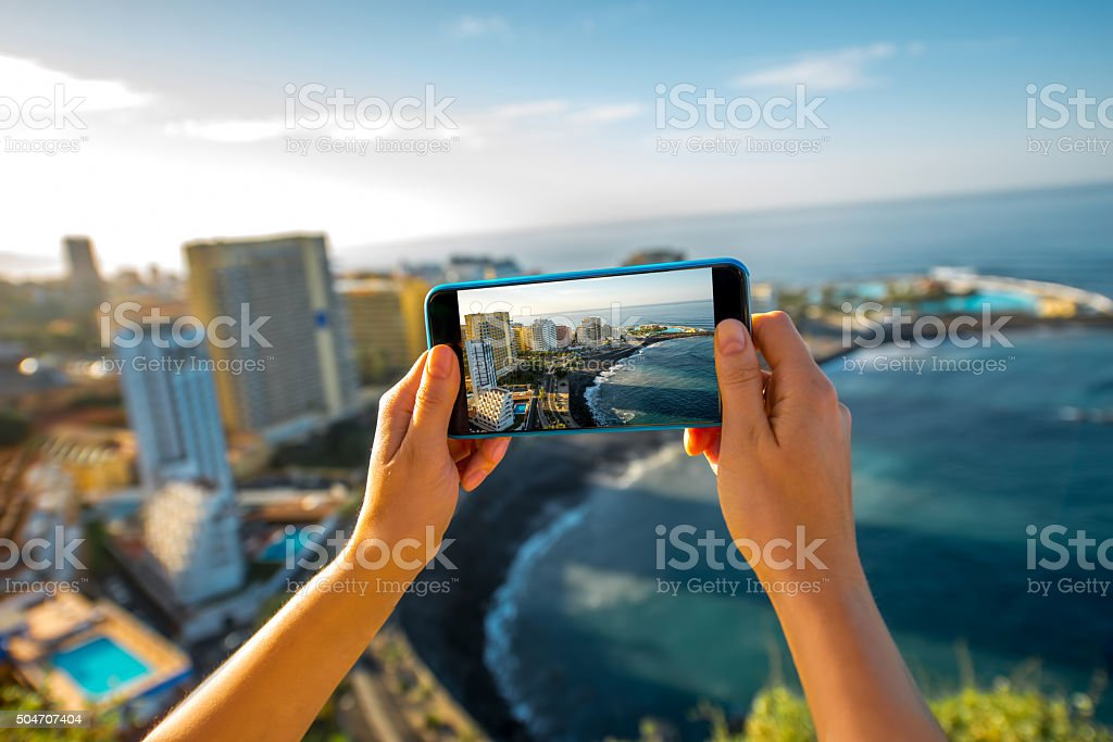 Photographing Puerto de la Cruz City on Tenerife island stock photo