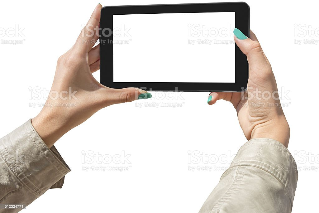 Photographing selfie with tablet stock photo