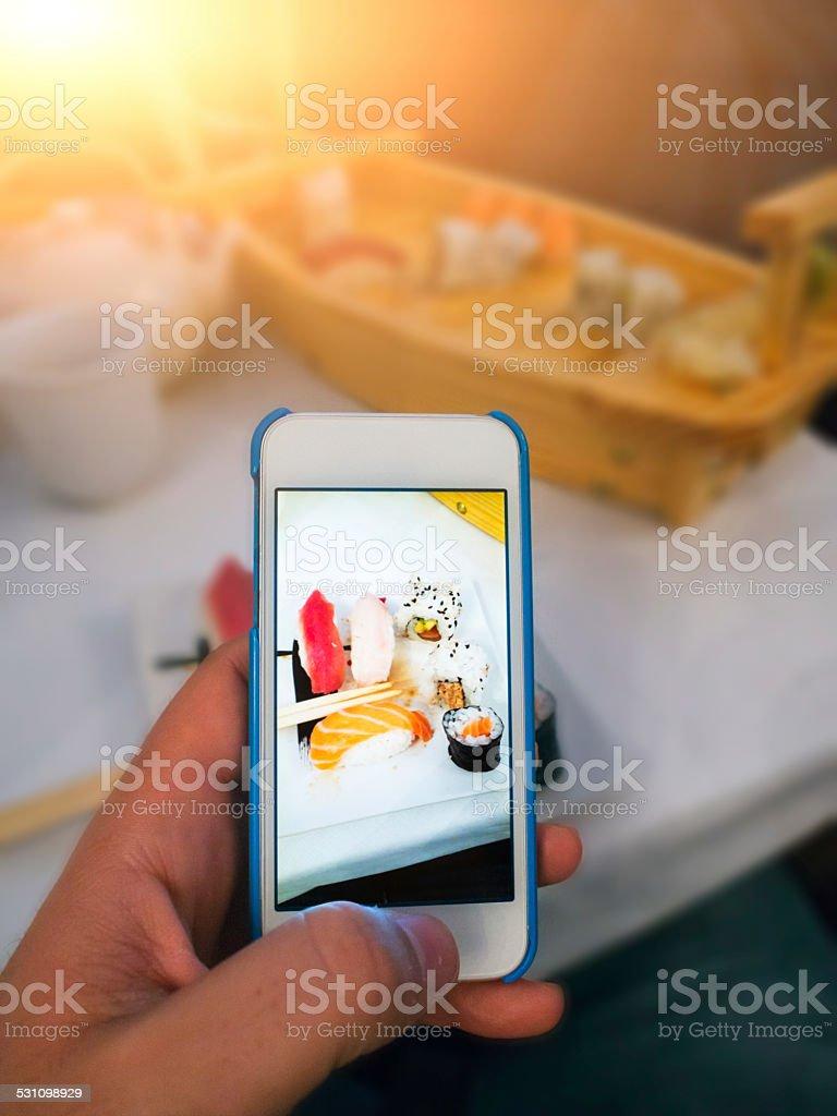 Photographing Sushi stock photo