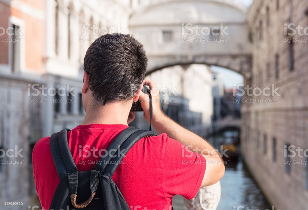 Photographing the Bridge of Sighs in Venice, Italy stock photo