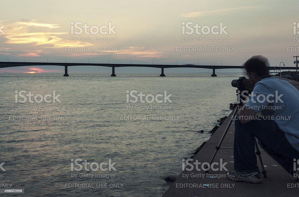 Photographing the Confederation Bridge royalty-free stock photo