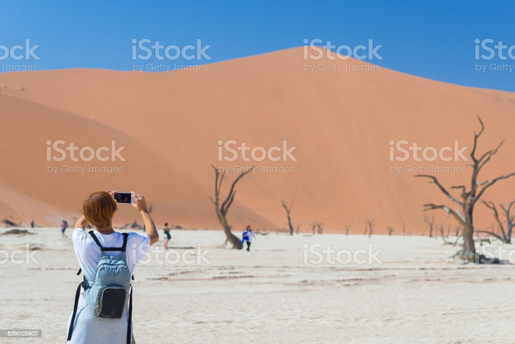 Photographing the desert, Namibia, Africa stock photo