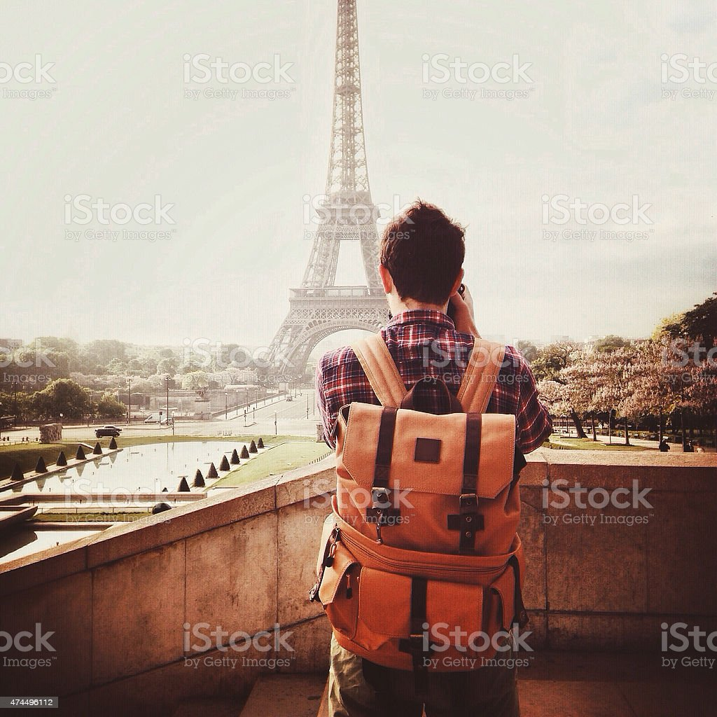 Photographing the Eiffel Tower stock photo