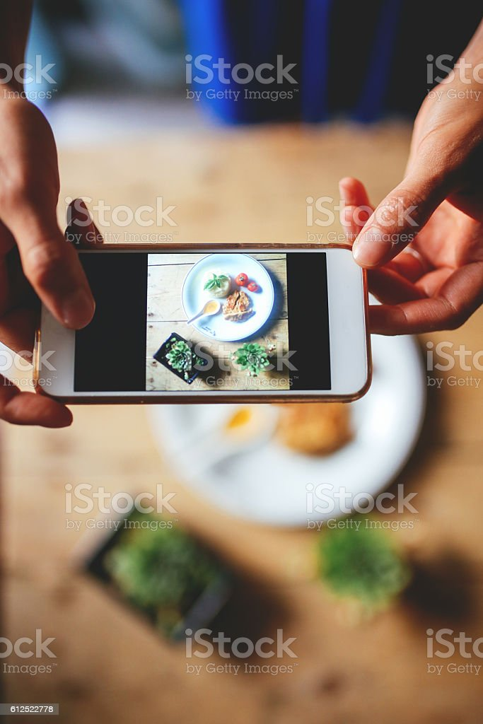 Photographing the food stock photo