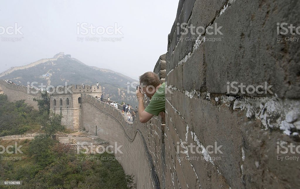 Photographing the Great Wall stock photo