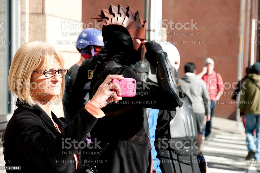 Photographing the Mayday Protest royalty-free stock photo