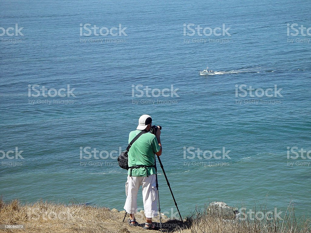 Photographing the ocean stock photo