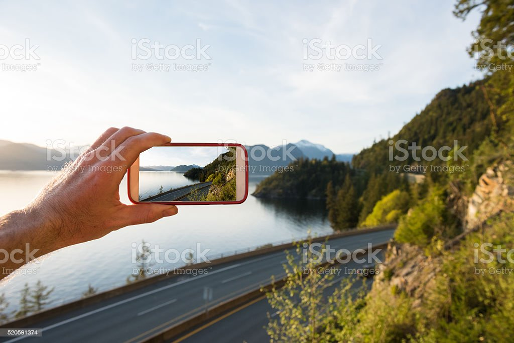 Photographing the Sea to Sky Highway stock photo