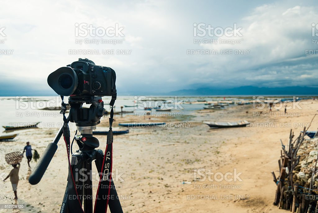 Photographing the Seaweed Farmers stock photo