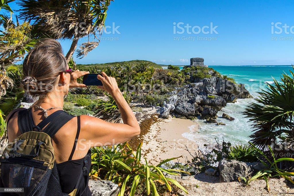 Photographing Tulum stock photo