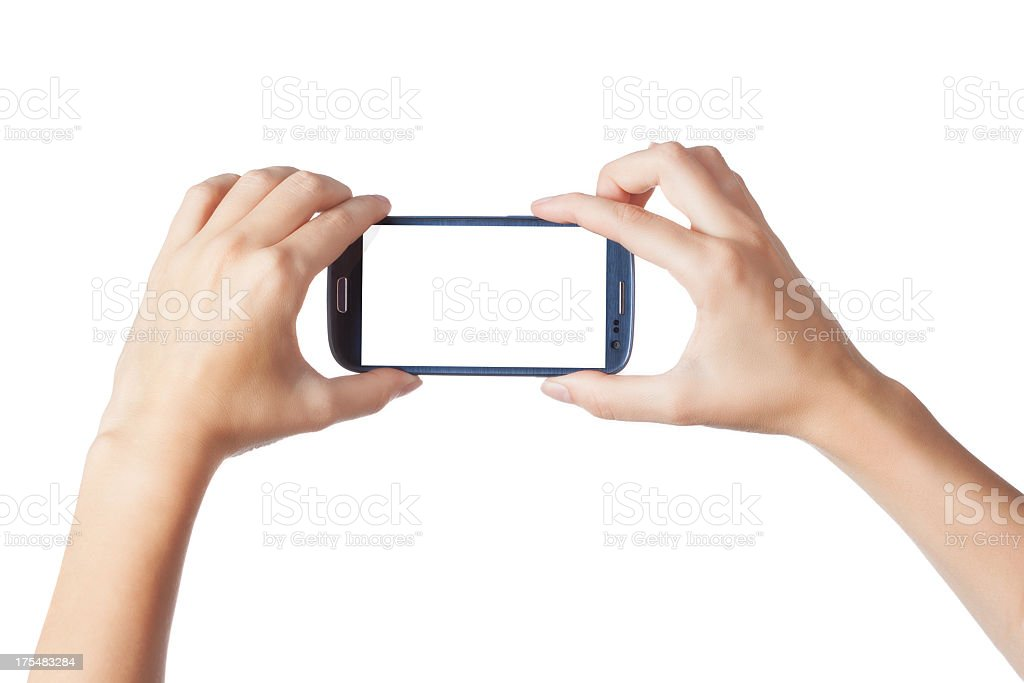 Photographing with smartphone stock photo
