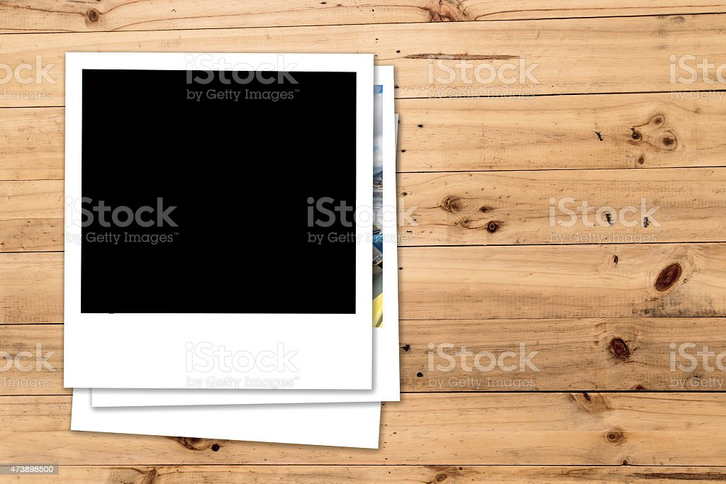 photographs at wooden background stock photo