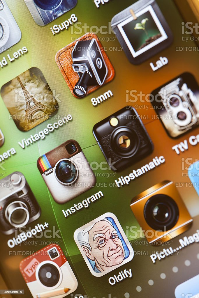 Photography apps on iPhone 4 screen royalty-free stock photo