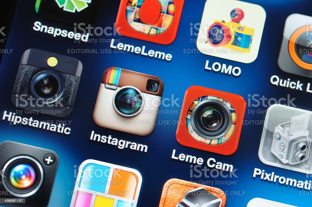 Photography apps on iPhone screen royalty-free stock photo