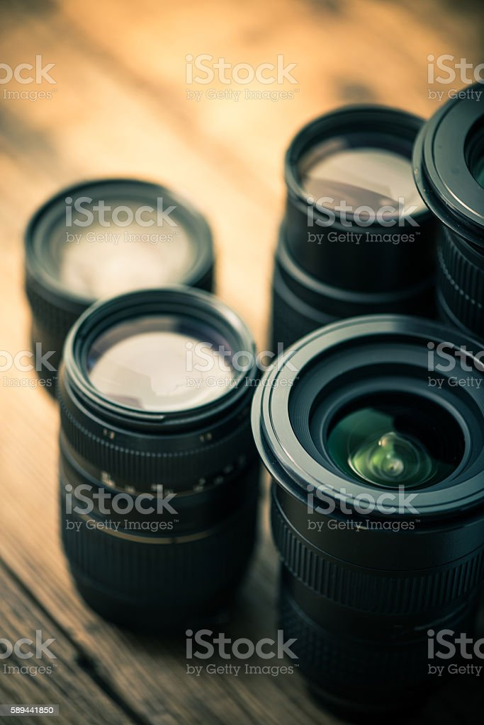 photography dslr lenses stock photo