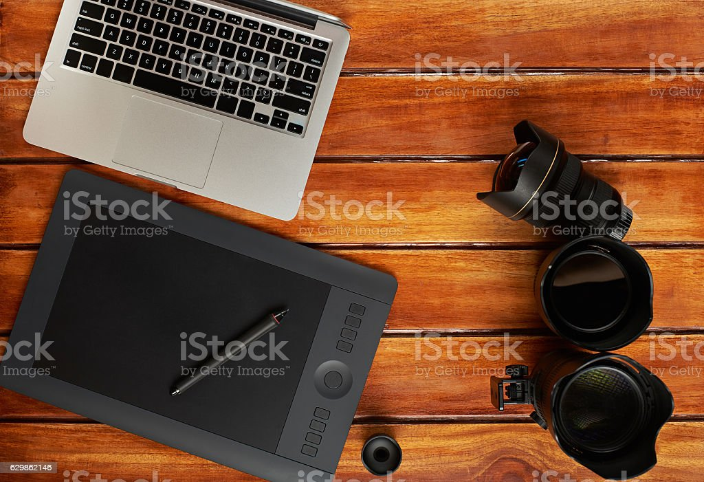 Photography gadget background stock photo