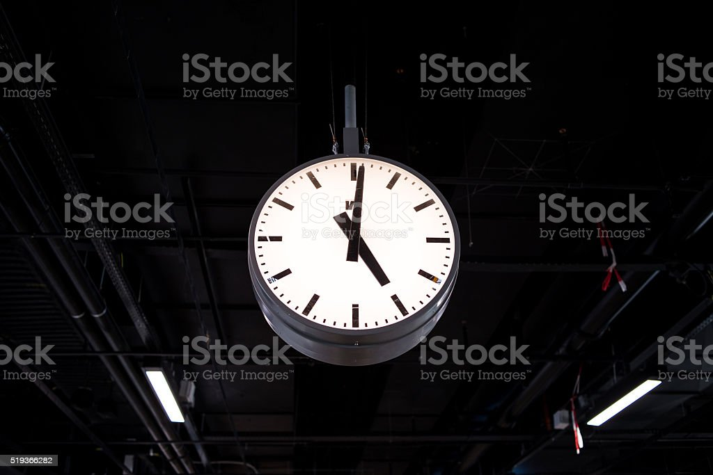Photography of the clock at an airport in Lisbon- Portugal stock photo