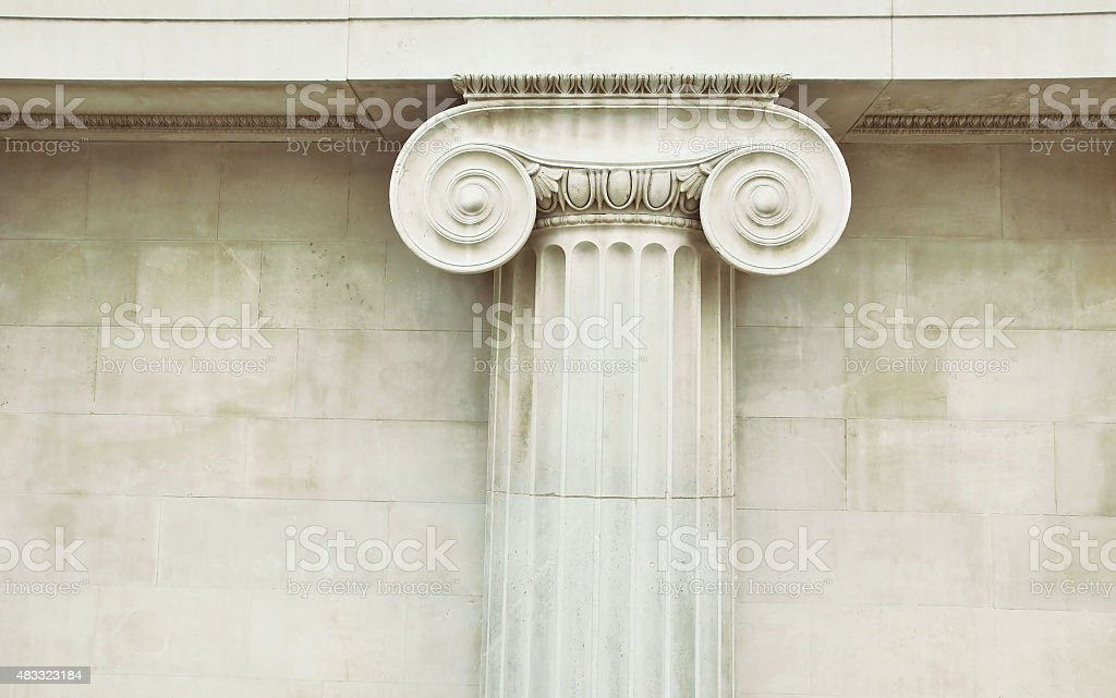 Photography of the Top of Column in Doric Style. stock photo