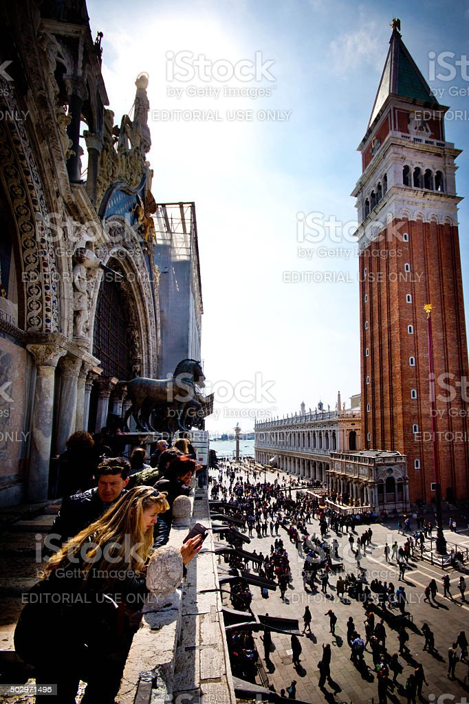 Photography on the Roof of the basillica in Venice stock photo