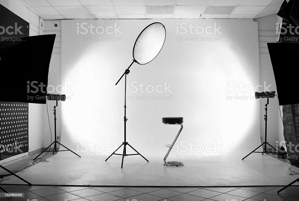 Photography studio with equipment in black and white stock photo