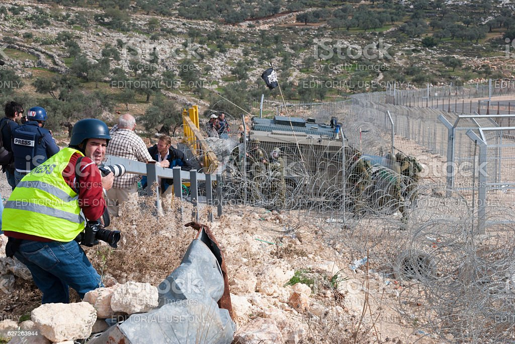 Photojournalists at West Bank protest in Bil'in stock photo