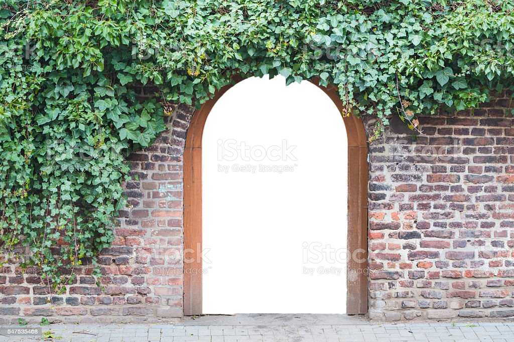 Photomontage, entrance gate in a wall stock photo