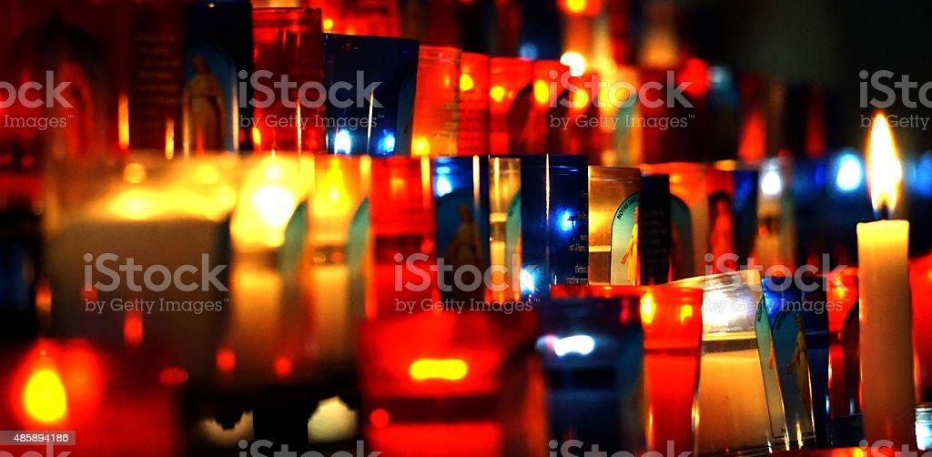 Photophores ? la basilique de Fourvi?re stock photo