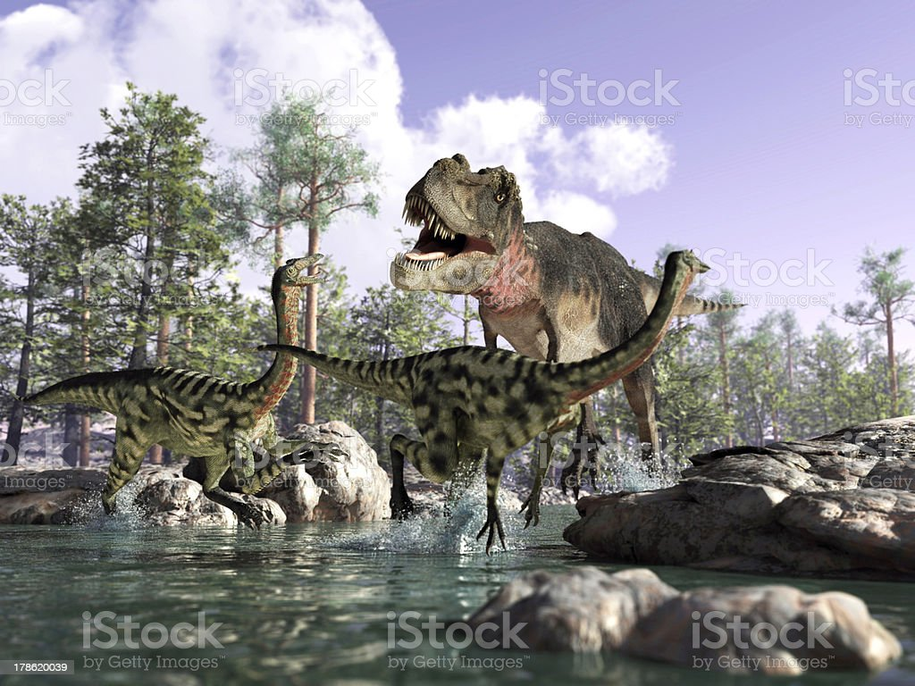 Photorealistic 3D scene of a Tyrannosaurus Rex, hunting two Gallimimus. stock photo