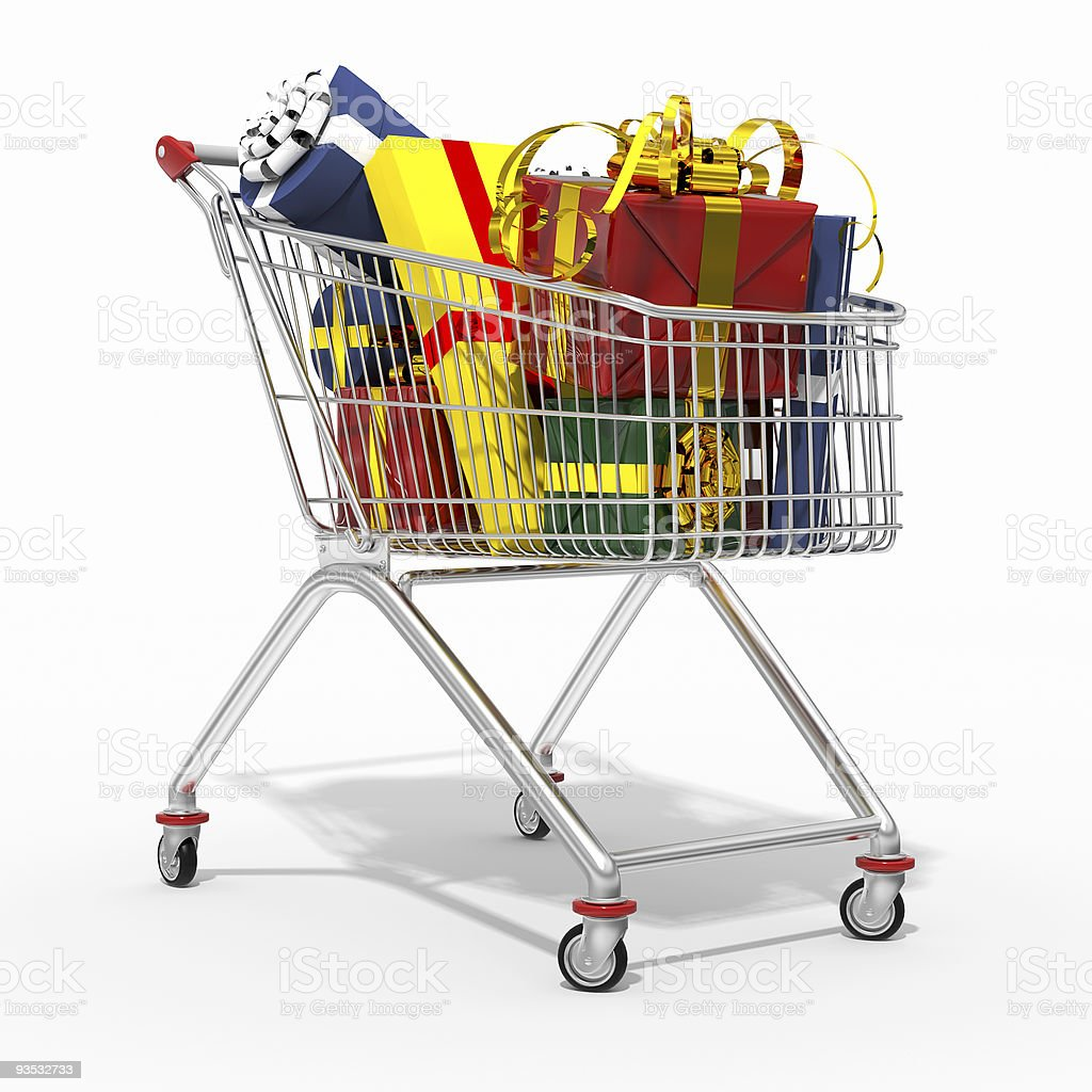 Photorealistic 3D shopping cart filled by gift isolated on white royalty-free stock vector art