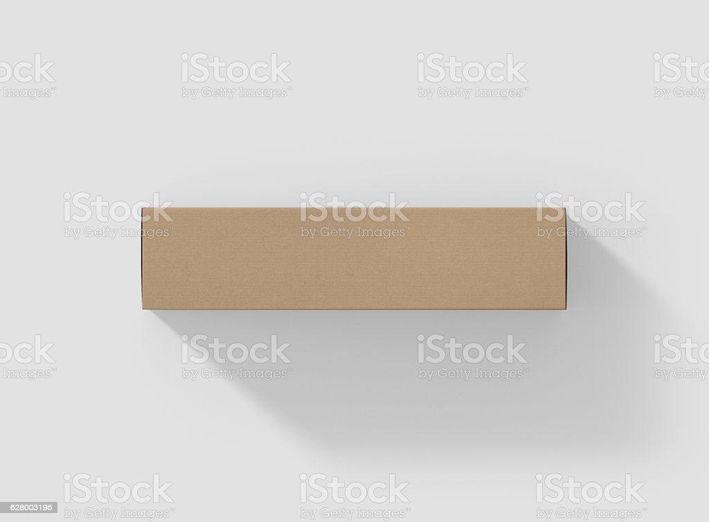 Photorealistic high quality Long Rectangle Kraft Package Box Mockup. stock photo