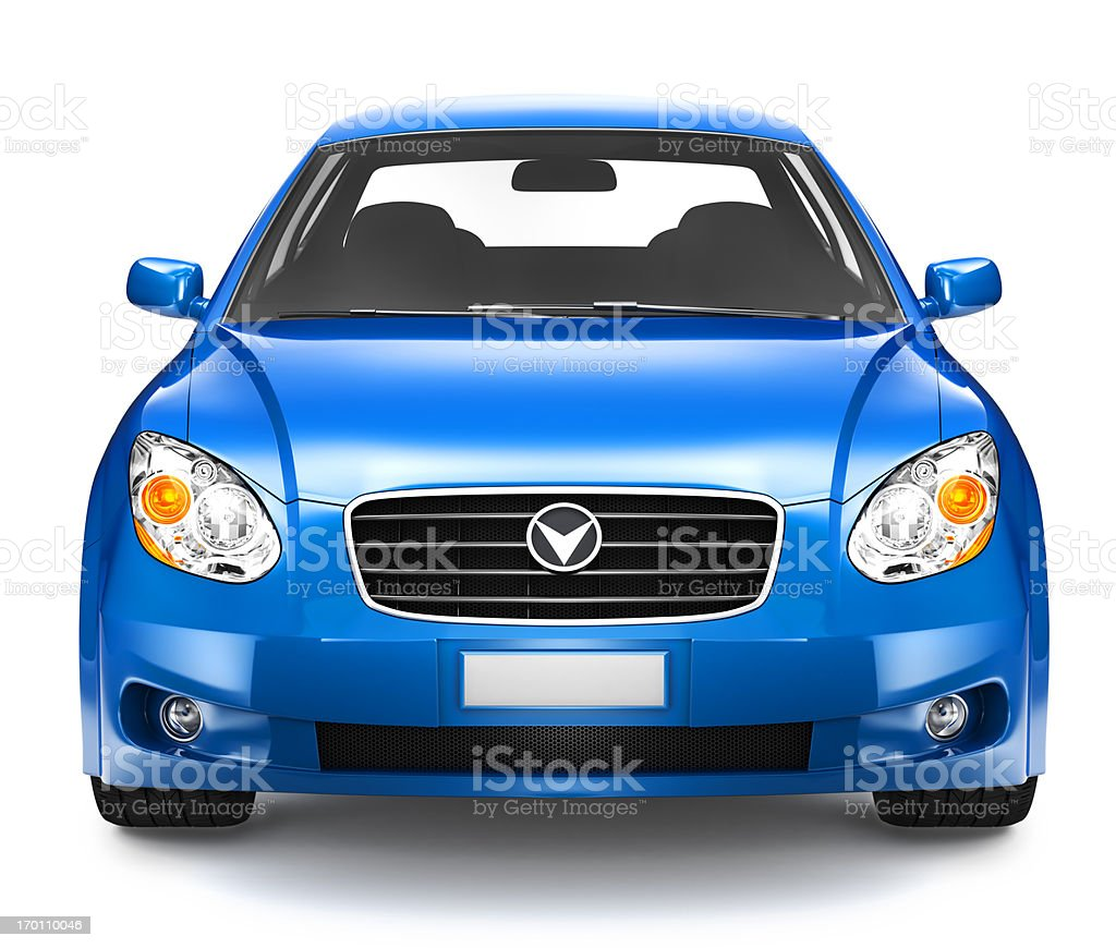 Photorealistic illustration of blue car stock photo