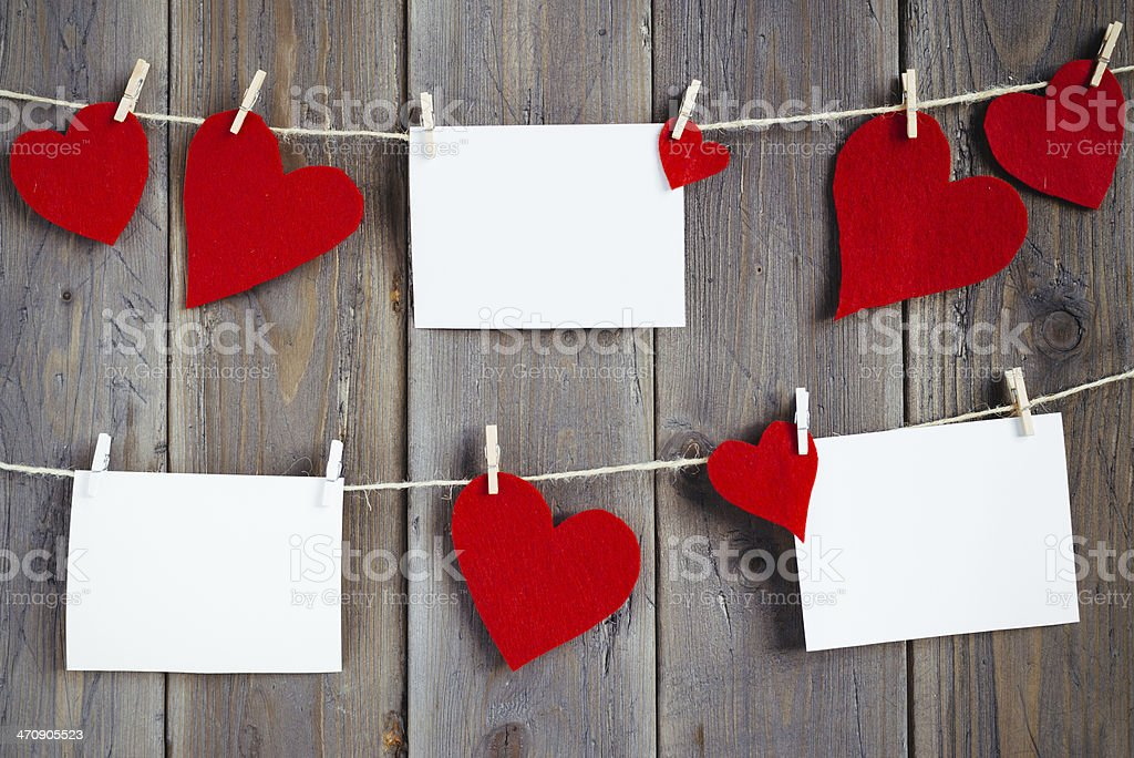 Photos and hearts for love memories stock photo