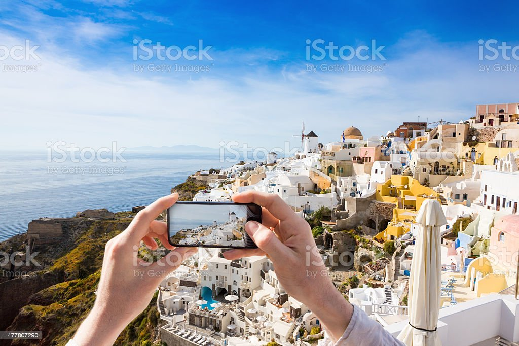 Photos from a trip to Santorini stock photo
