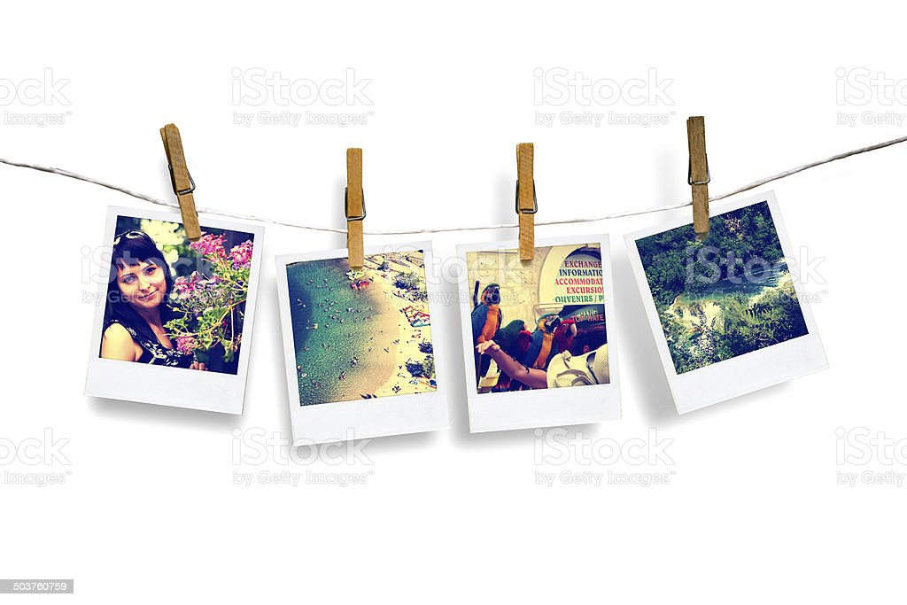photos of holiday hanging on clothesline with sea stock photo