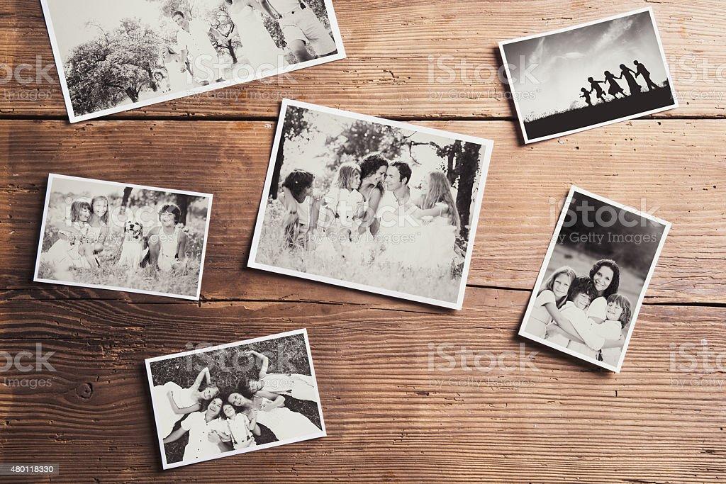 Photos on a table stock photo