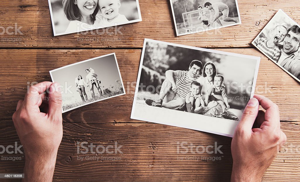 Photos on a table stock photo