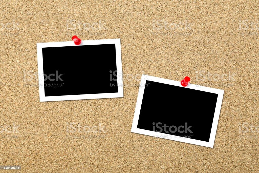 Photos on Cork Board stock photo