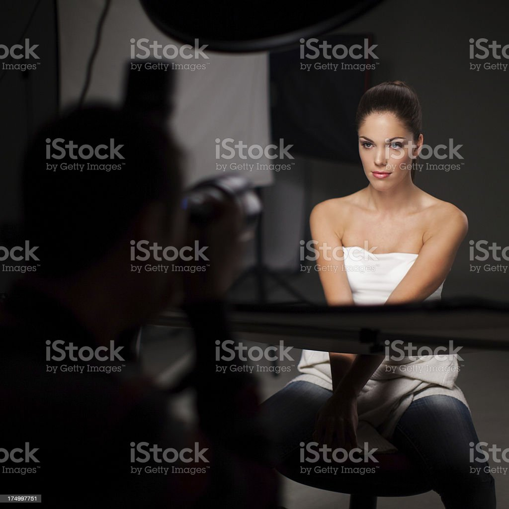 Photoshooting with beautiful woman stock photo