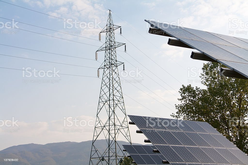 Photovoltaic and power line royalty-free stock photo