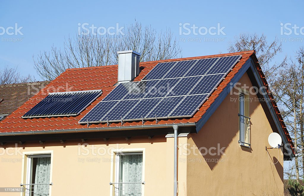 Photovoltaic And Solar Heating System royalty-free stock photo